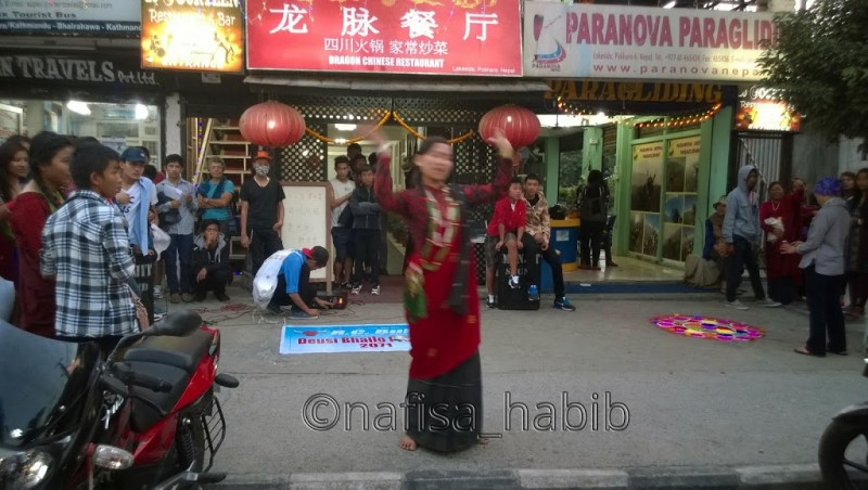 Celebrating Tihar by dancing and singing in Pokhara