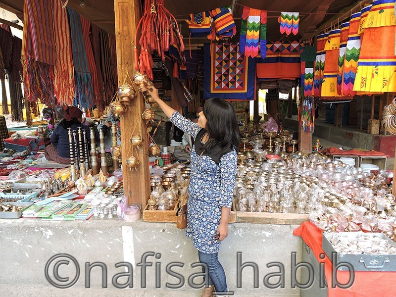 Stalls beside Wooden Bridge Thimphu