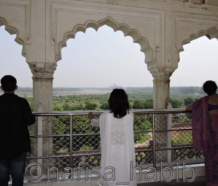 The Remote View of Taj Mahal from Agra Fort