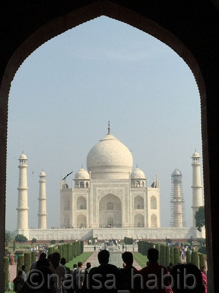 The view of Taj Mahal from the Great Gate in Agra, India