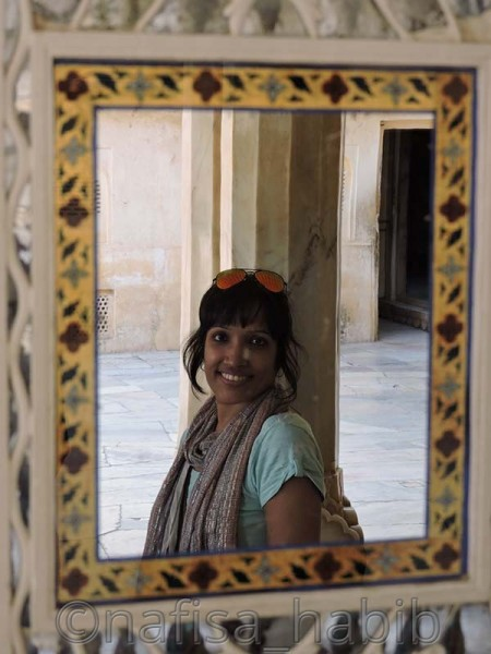 Mirror Reflection from the Sheesh Mahal of Amber Fort in Jaipur