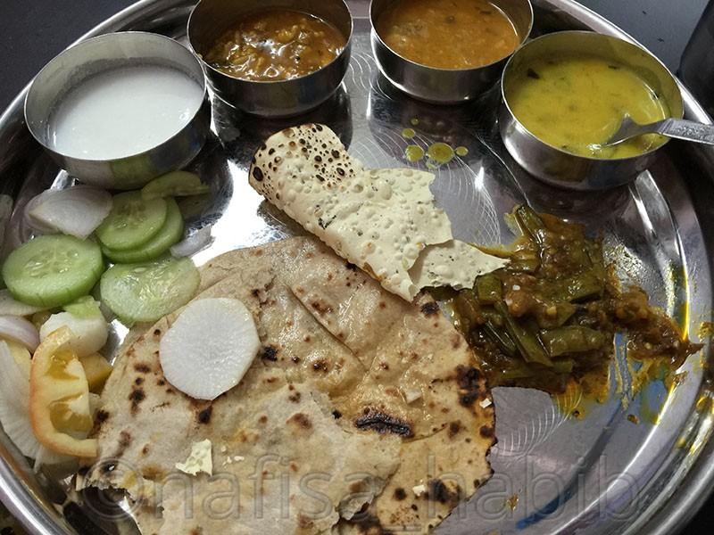Gujarati Thali in Udaipur, Rajasthan