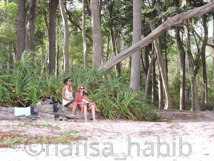 Relaxing under Mahua trees, Radhanagar beach