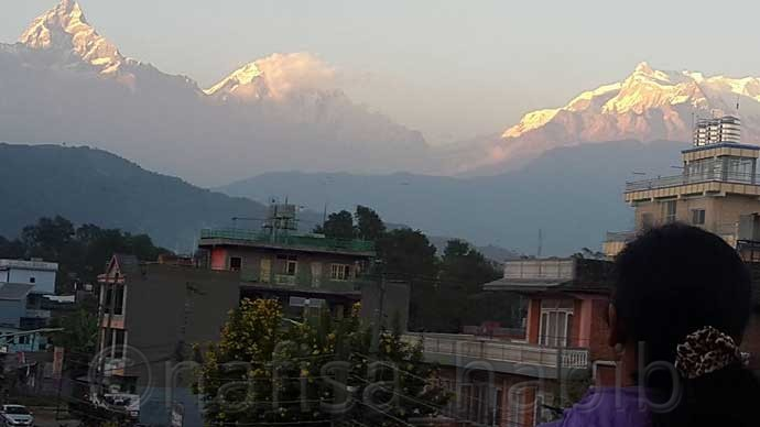 annapurna mountain view from the rooftop of hotel orchid
