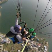 Paragliding Above The Fewa Lake
