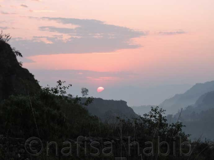 Sunrise from Furse Khola Pokhara