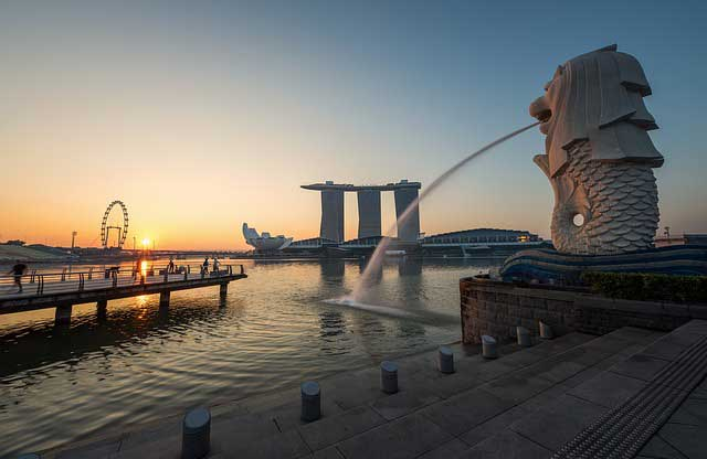 Famous Merlion Park in Singapore
