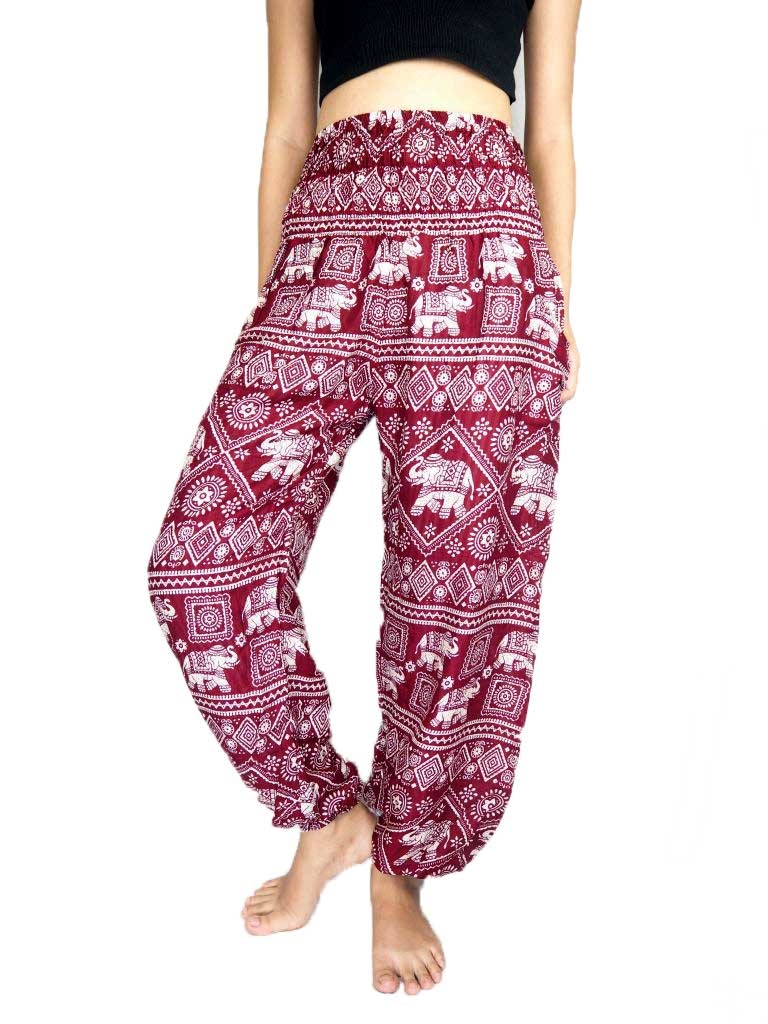 Racy Red Elephant Print Stylish Harem Pants by Active Roots