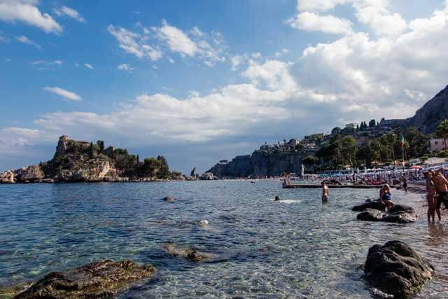 Isola Bella Beach with a Little Islet in Taormina, Sicily