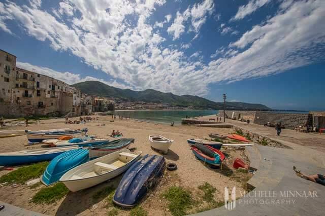 Coastal City Cefalu in Sicily, Italy - Lungomare Cristoforo Colombo Beach
