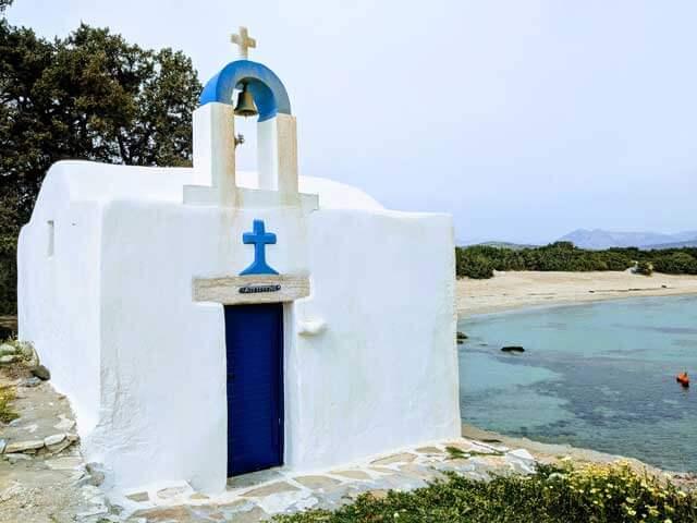 Saint George Chapel in Alyko Beach on Nexos Island, Greece