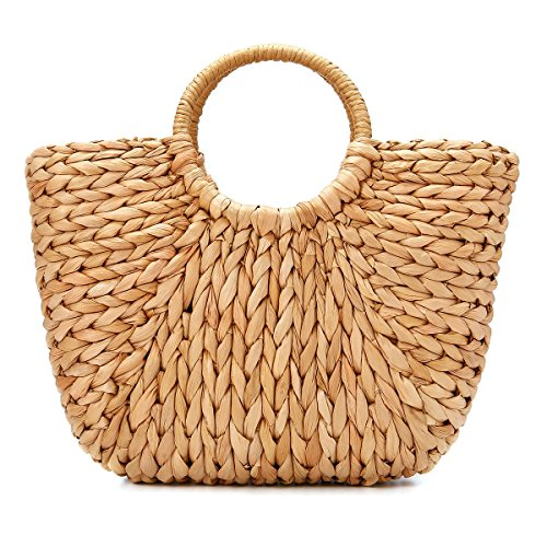e178b8f54 Summer Beach Bag, JOSEKO Women Straw Handbag Top Handle Shoulder Bag Travel Tote  Purse