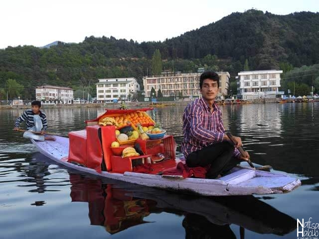Srinagar Dal Lake photos - Boat of fruits to prepare fruit salad