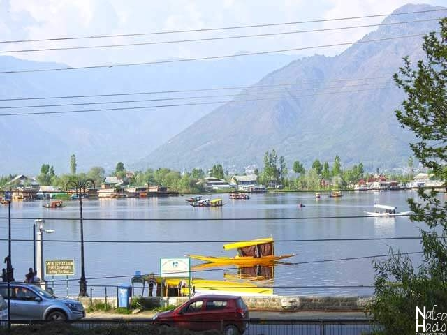 The remote view of Dal from Nunkun Lake View Restaurant Srinagar