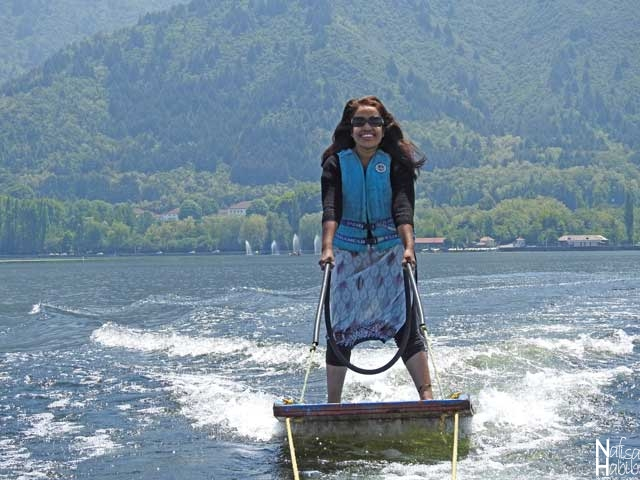 Water surfing on Dal Lake in Srinagar