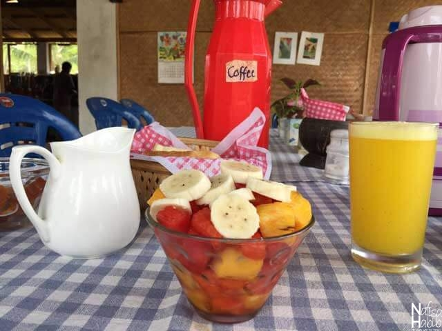 Eating Healthy While Traveling Abroad - Fruits Salad with Orange Juice at Anitha's Garden Stay in Kovalam