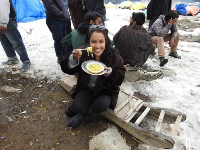 Tasty Maggi Noodles time at Kongdoori Valley in Gulmarg