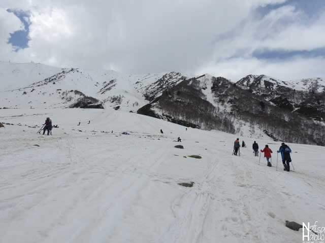 The snowfall in Gulmarg during spring time