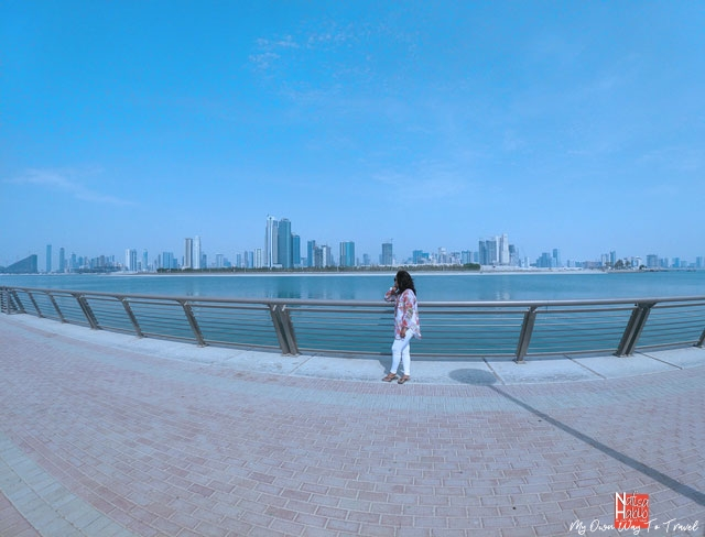 Al Mamzar Beach Park facing the skyline of Sharjah