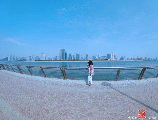 Al Mamzar Beach Park facing the skyline of Sharjah