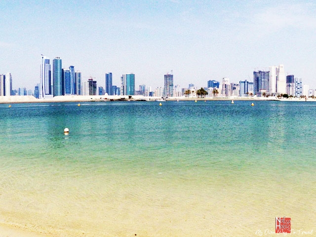 Al Mamzar Beach in Dubai facing the skyline of Sharjah