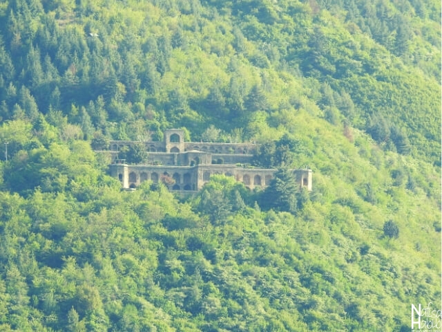 The remote view of Pari Mahal from Tulip Garden Srinagar