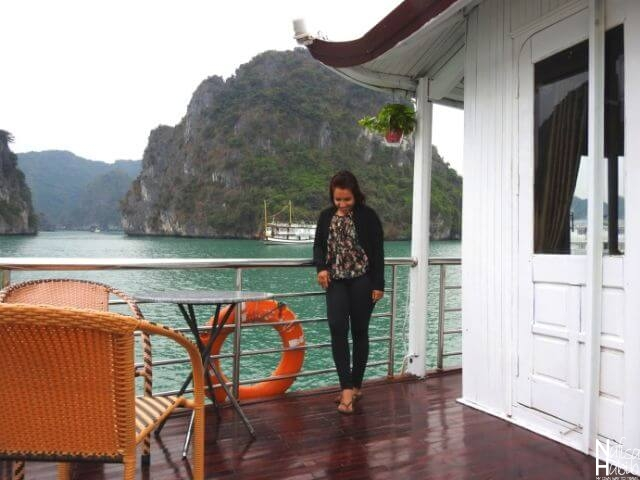 Beautiful terrace of Cozy Bay Cruise Halong Bay
