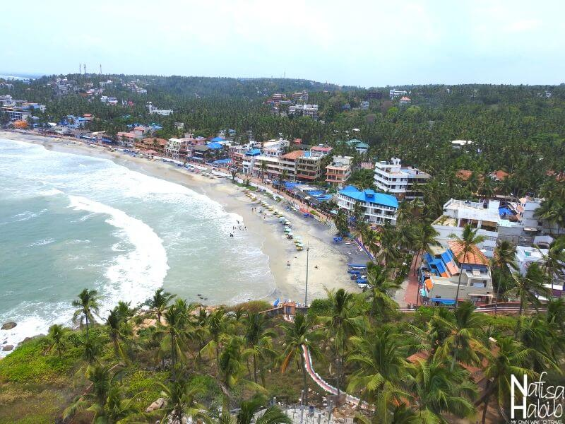 The top view of Kovalam Beach Town from the Lighthouse