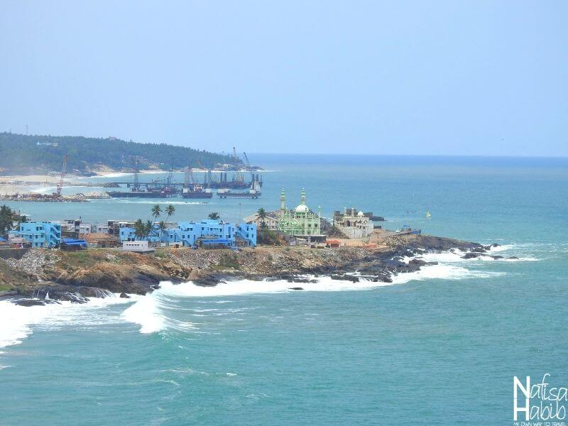 The remote view of Vizhinjam Fishing Harbour and Juma Masjid by the Arabian Sea from the Lighthouse