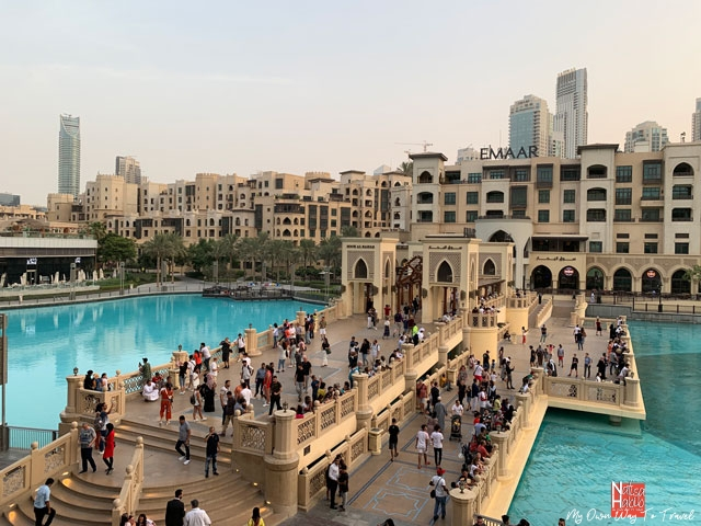 Places to visit in Dubai - Souk Al Bahar bridge over the Dubai fountain lake