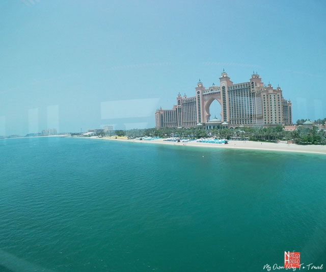 Top view of Atlantis The Palm from Palm Jumeirah Monorail