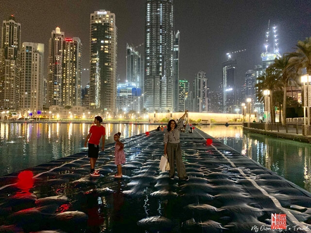 Places to visit in Dubai at night - Dubai Fountain Boardwalk onto The Burj Khalifa Lake