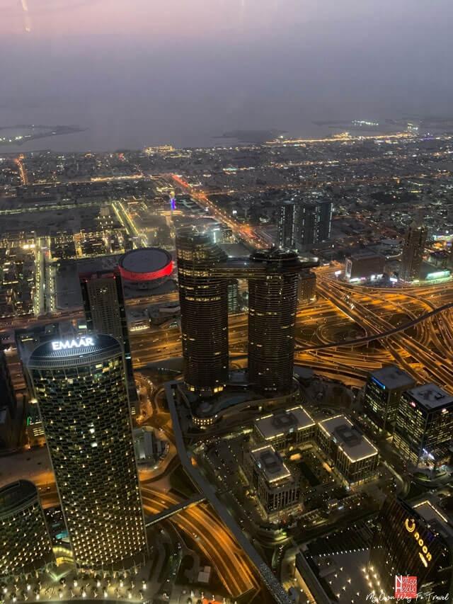 Dubai skyline from the observation deck of Burj Khalifa