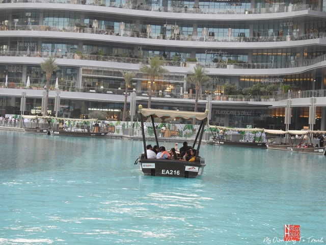 Dubai Fountain Lake ride on the traditional abra