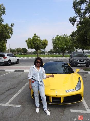 Posing with Ferrari in Dubai
