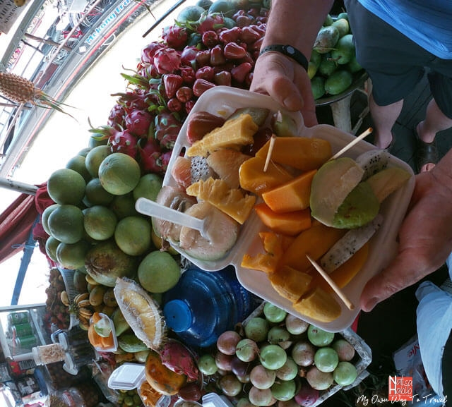 Fresh local fruits during trip to Mekong Delta floating market