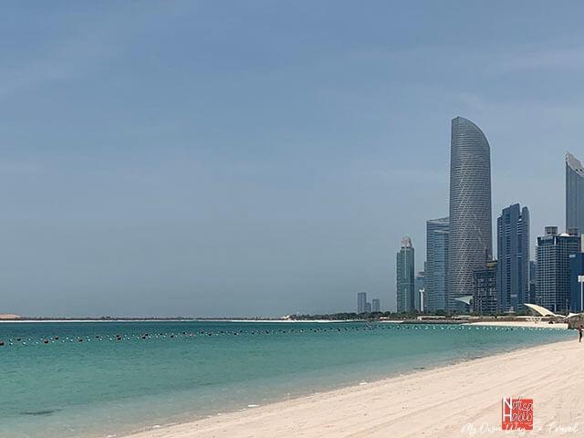 Abu Dhabi skyline view from the Corniche Beach