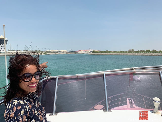 Remote view of Ferrari World Abu Dhabi from the yacht