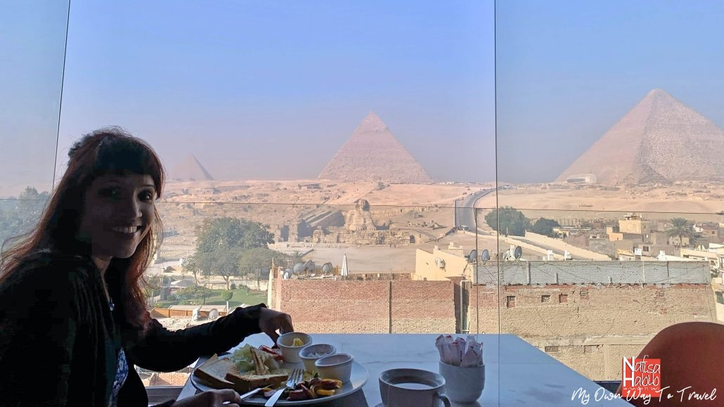 Food with Great Pyramid of Giza view from Marvel Stone Hotel