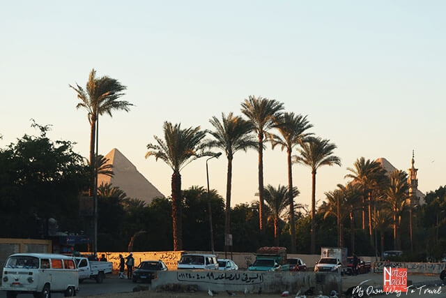 Great pyramid view from Giza roadside