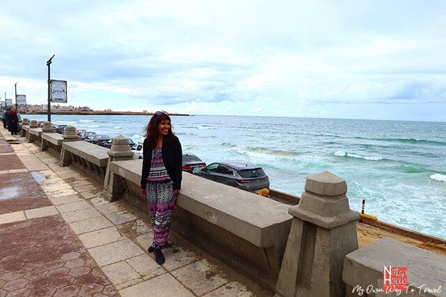Touring around the Mediterranean city Alexandria in Egypt