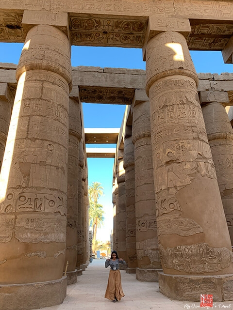 Massive decorative pillars of the Karnak Temple in Luxor
