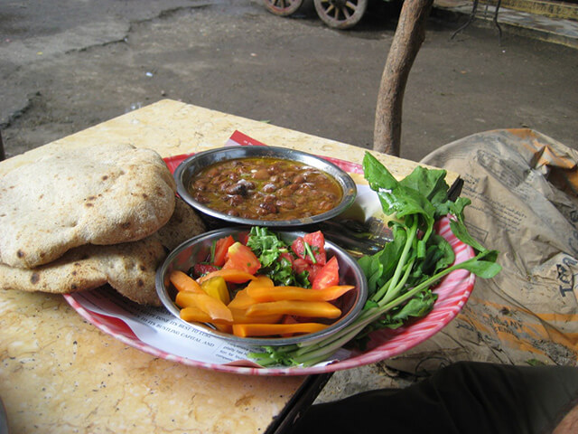 Egyptian food Ful Medames with Pita bread