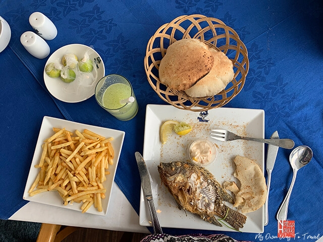 Freshly fried Samak with Arabic bread - Alexandria Fish Market Restaurant