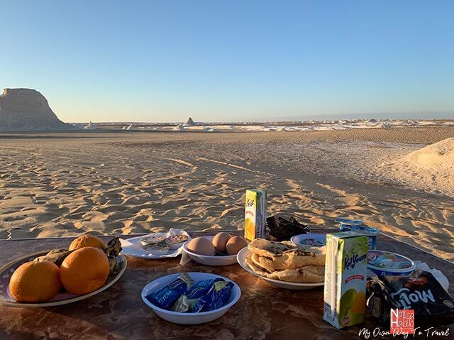 Breakfast in the White Desert National Park