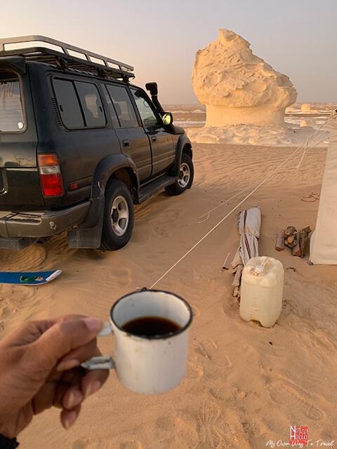 Camping tea time in Bahariya Oasis