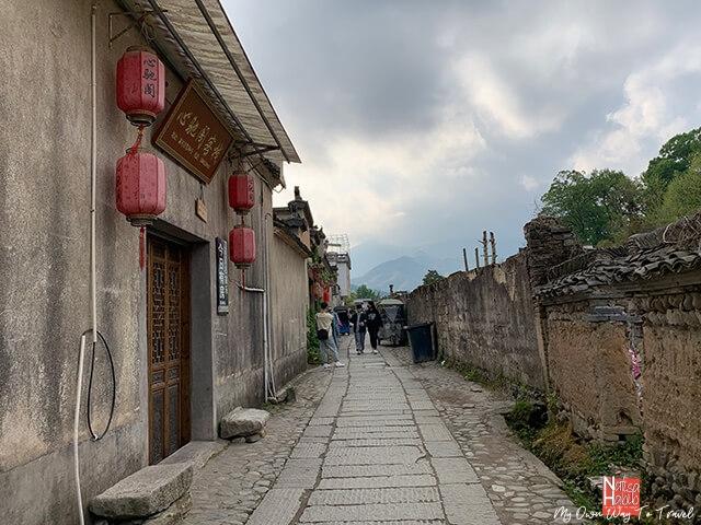 Narrow cobblestone paved lane of Hongcun